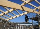 23 Maart: Werk aan de dakconstructie van de grote zaal